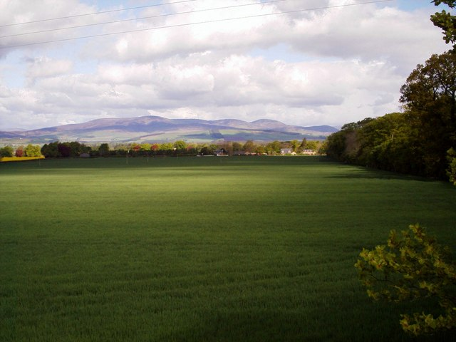 View of Farmland and Mountains near Stracathro, Angus