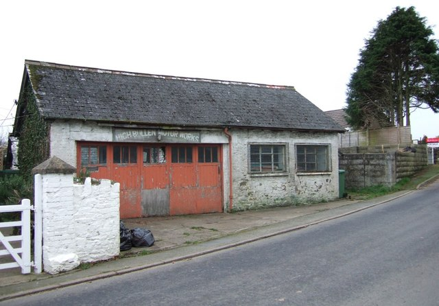 Old garage at High Bullen