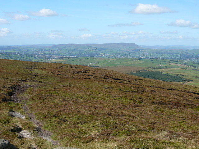 Path leaving the summit of Lad Law