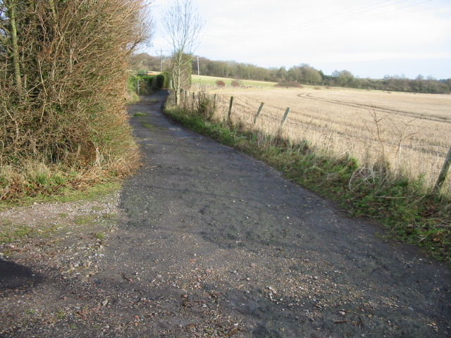 Track and footpath leading to Thornton Lane