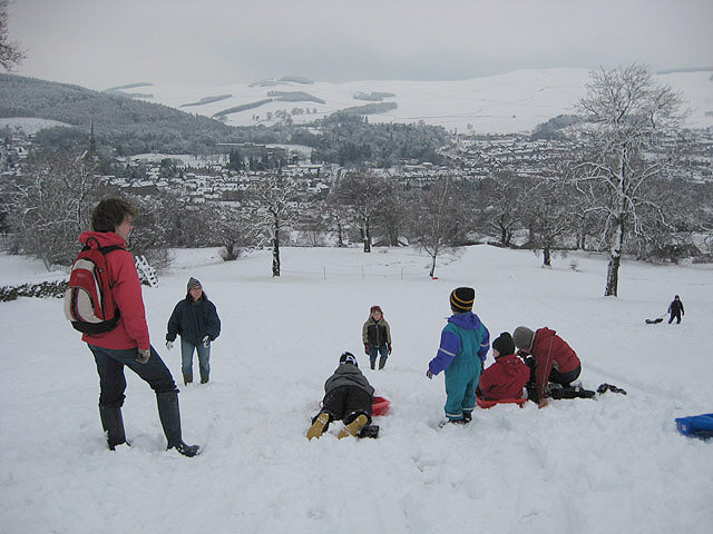 Sledging on Galashiels Golf Course