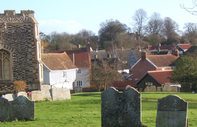 Part of Rattlesden village viewed from the churchyard