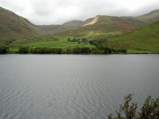 The view across Wast Water to Overbeck Bridge
