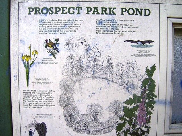 Prospect Park pond information board