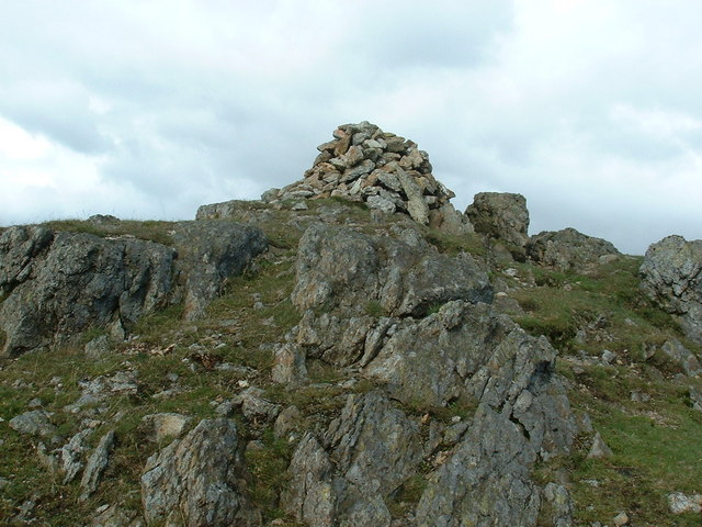 Close up of summit cairn of Moel Llyfnant