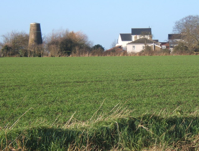 View across fields to disused windmill