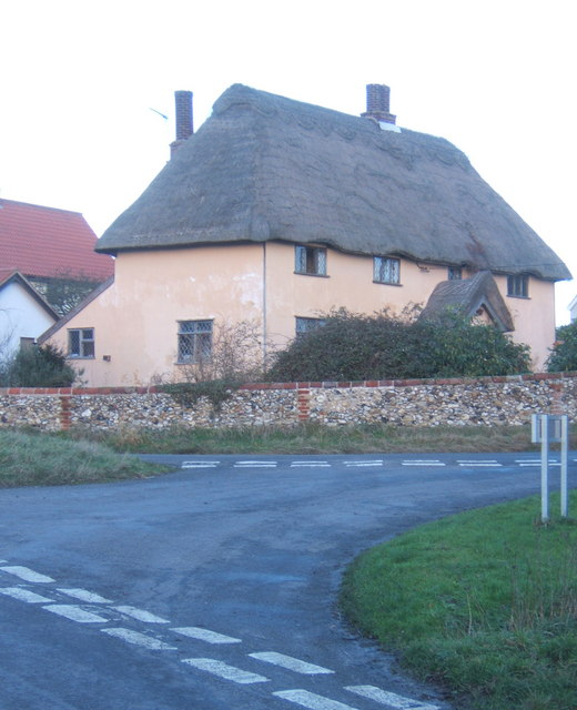 Thatched cottage at lane junction, Poystreet Green