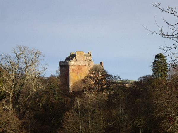 Inverquharity Castle bathed in winter sunshine
