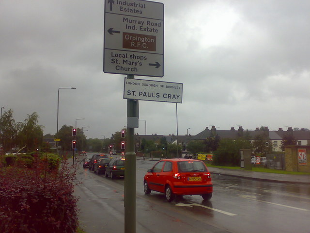 Cray Avenue junction with Leesons Hill and Station Road, St Paul's Cray