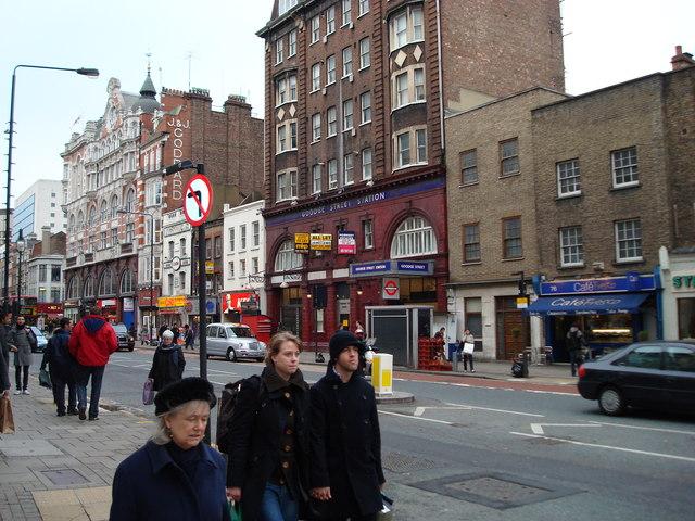 Goodge Street Underground Station viewed from Tottenham Court Road