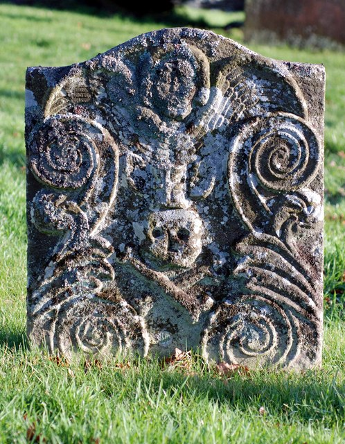 Ornate Old Gravestone, showing skull and crossbones