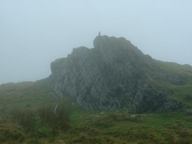 Summit of Galt y Daren in mist