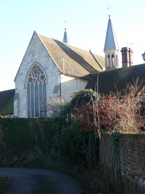 The rear of Faversham Almshouses Chapel