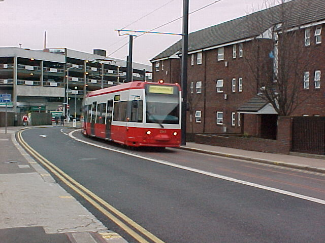 Tram in Tamworth Road Croydon