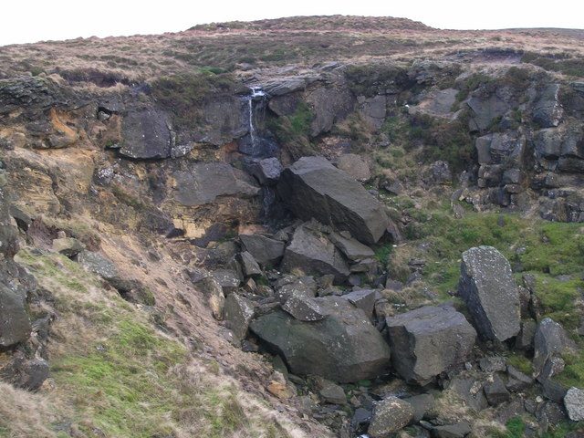 The almost pencil-thin waterfall of Blowing Gill Dyke