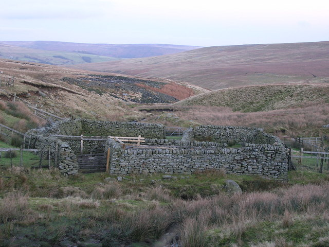 Well-maintained sheepfold next to Great Blowing Gill Beck