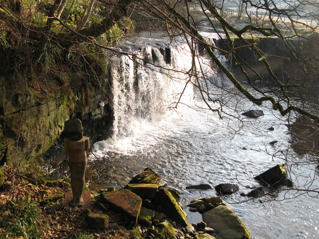 Waterfall on the River East Allen (and sculpture) (2)