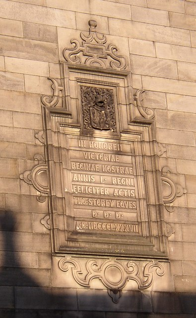 Plaque on the Storey Institute, Meeting House Lane, Lancaster