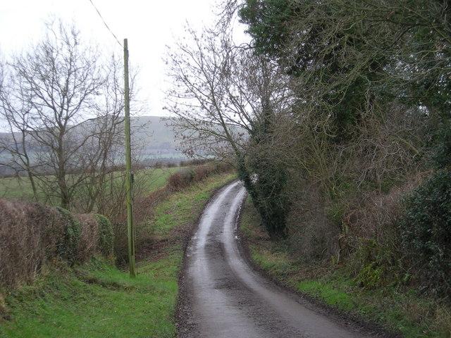 Lane to Walkmills Farm.