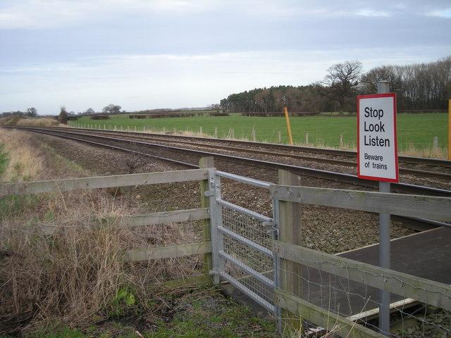 Stop, look & listen - Beware of the trains.
