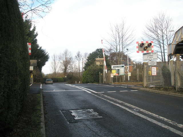 Looking northwards towards the level crossing