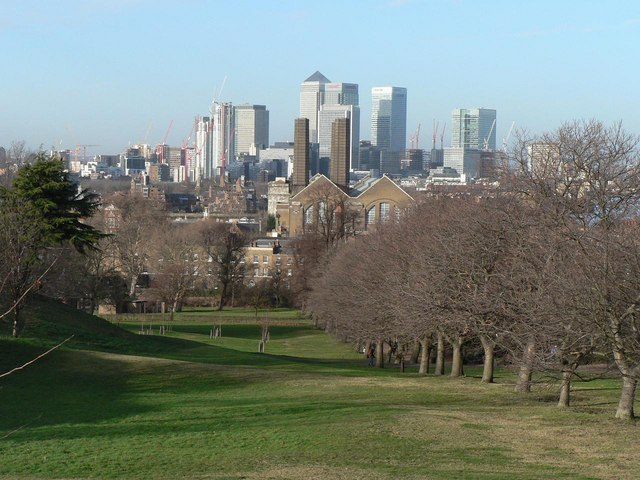 Greenwich Park: Canary Wharf view