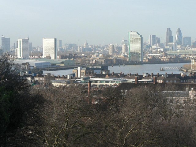 Greenwich: view of city skyline