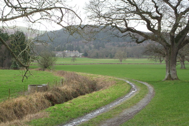 Track leading into fields near Trawsgoed mansion