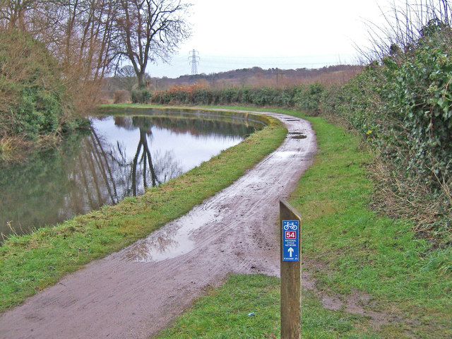National Cycleway Network route 54 marker on Staffs & Worcs Canal Bullocks Bridge