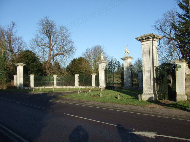 The gates to Wimpole Hall from Ermine Street