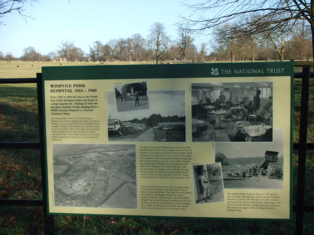 Noticeboard to Wimpole Park Hospital