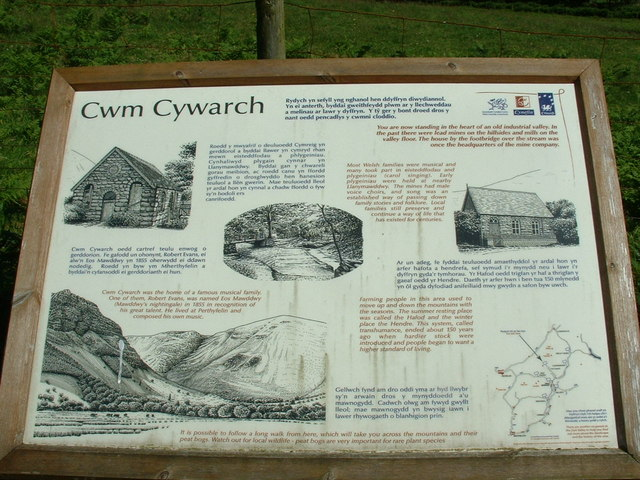 Notice board in Cwm Cywarch