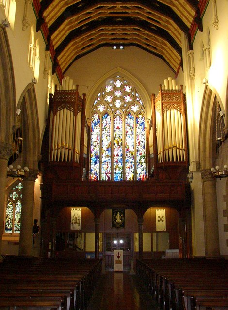 Interior of St Peter's Cathedral – West end, Lancaster