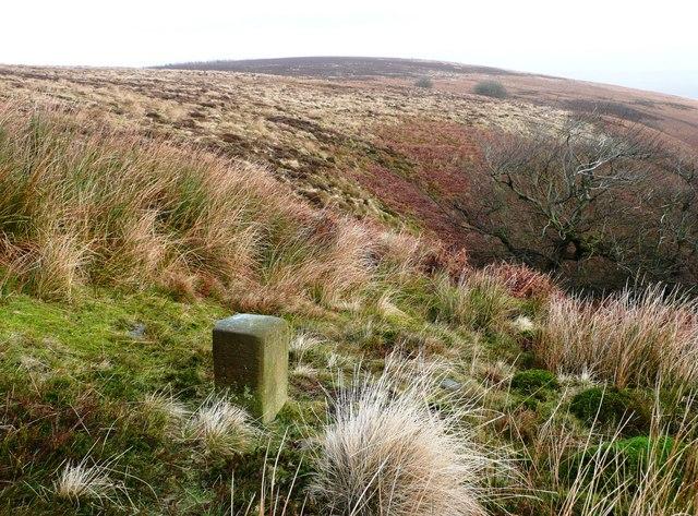 Boundary stone at head of Cwm Lleucu