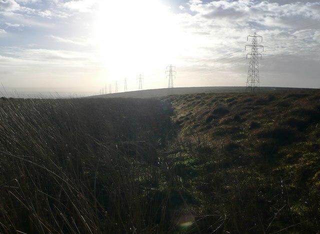 Pylons and moorland on Mynydd Twyn-glas