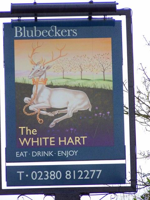 Sign for the White Hart, Cadnam