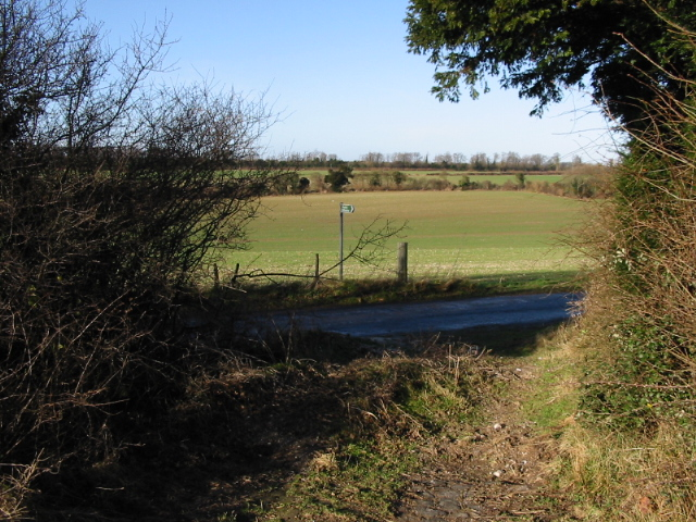View from bridleway on to the Barfrestone Road