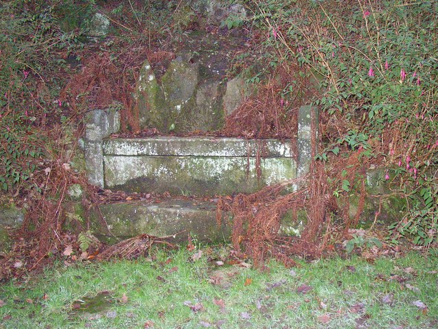 Stone seat with bench mark, Williamson Park, Lancaster