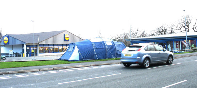 Lidl and Outdoor World stores seen across the Penamser Road
