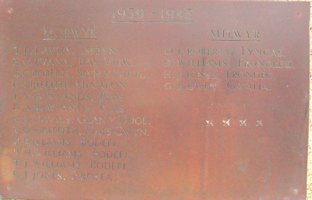 The fading list of the names of Nefyn boys lost in World War II