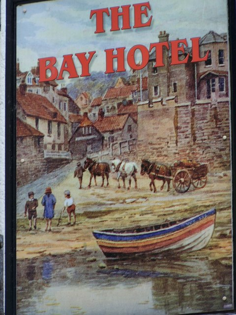 Sign for the Bay Hotel, Robin Hood's Bay
