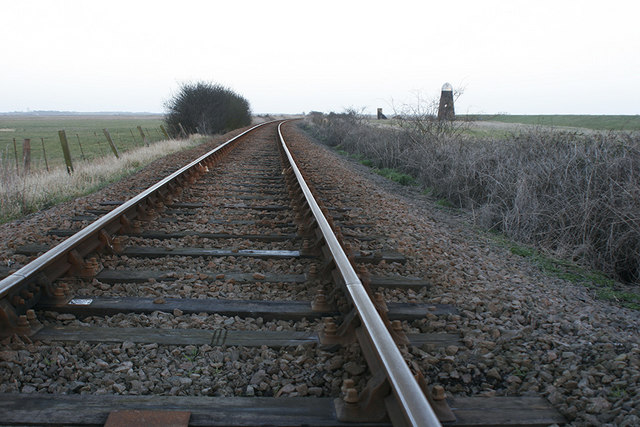 Railway track heading towards Lockgate Drainage Mill