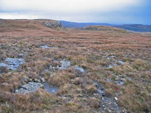 Bedrock exposure in the moor above Creag a' Mhill
