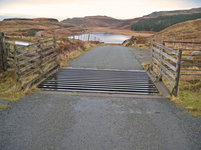 Cattle grid on the road to Claigan