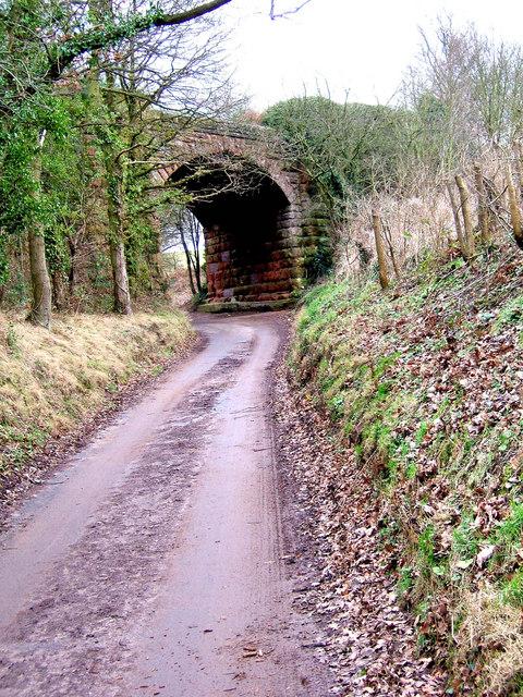 Disused railway viaduct and farm road near Blackstone
