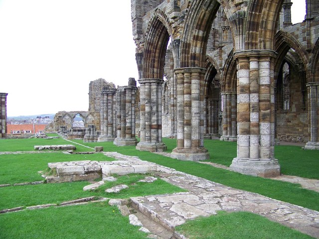 Pillars and arches at Whitby Abbey