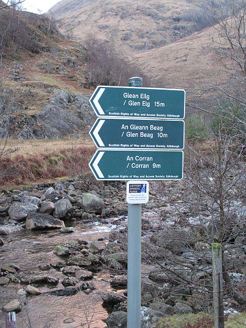 Footpath signs, Kinloch Hourn
