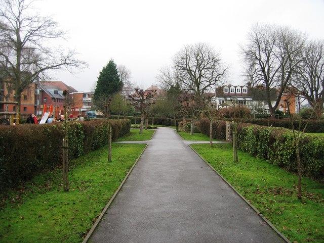Footpath in gardens by Mill Meadows car park