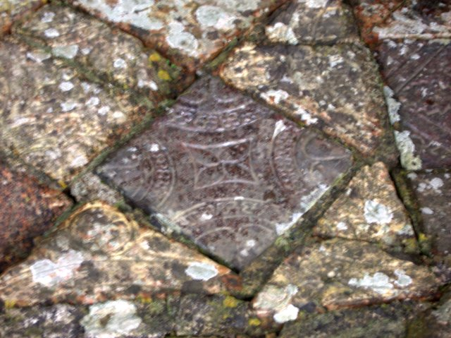 Decorated medieval floor tiles at Strata Florida abbey