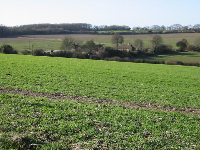 View across the fields towards Long Lane Farm